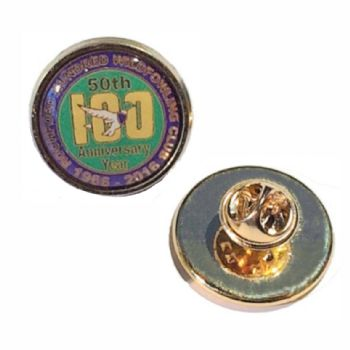 Premium Badge 18mm round gold clutch and printed dome